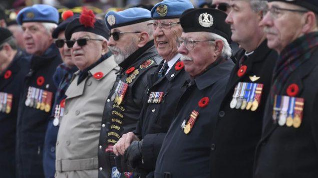 مئات المحاربين تجمّعوا أمام نصب الحرب التذكاري في أوتاوا للمشاركة في مراسم يوم الذكرى/Adrian Wyld/CP