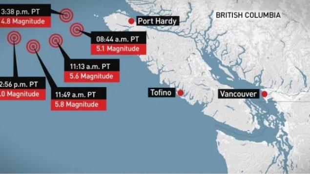 يقع مركز الزلازل في المحيط الهادي، على عمق حوالي خمسة كيلومترات - Photo : Natural Ressources Canada