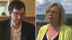 إليزابيث ماي، الزعيمة المستقيلة لحزب الخضر في كندا و أليكس تيريل الذي أعلن ترشّحه لخلافتها - Radio Canada