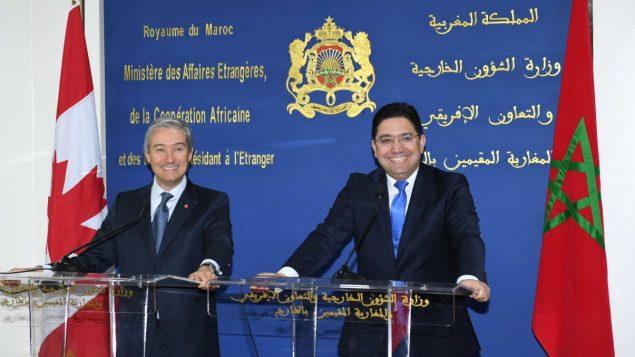 (من اليمين إلى اليسار) وزيرا الخارجية المغربي ناصر بوريطة، والكندي فرانسوا قيليب شامبان وزير خلال ندوة صحفية عقداها يوم الجمعة 24.01.2020 في الرباط في المغرب – Twitter/ @FP_Champagne