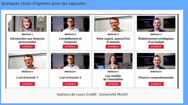 يحصل المشارك الذي يجتاز الدورة التدريبيّة والاختبارات بنجاح على شهادة لإكمال الدورة حول معرفته الماليّة الشخصيّة/McGill University