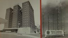 محطّة بث على الموجات القصيرة (إلى اليمين) ومقرّ راديو كندا الدولي في غرب مدينة مونتريال في عام 1945 - الصورة: RCI