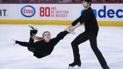 الكنديّان مارجوري لاجوا وزاكاري لاغا يجريان تمارين التزحلق الفنّي على الجليد في مونتريال في 24-02-2020/ /Paul Chiasson/CP