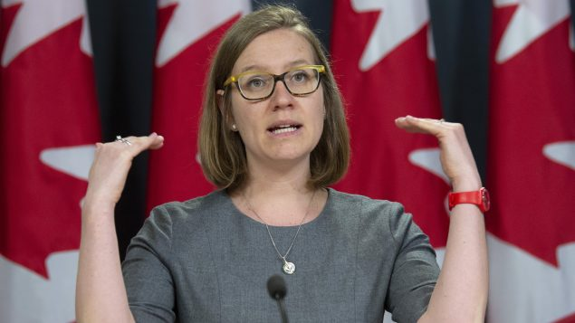 Democratic Institutions Minister Karina Gould responds to a question during a news conference in Ottawa, Monday, April 8, 2019. Days before Canada announced more than $100 million in new foreign aid to fight COVID-19, a federal minister and a leading aid advocate said the country can't afford to scrimp on its overseas spending in fighting COVID-19. THE CANADIAN PRESS/Adrian Wyld