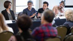 توبياس ليوك (الثاني من اليسار) المدير التنفيذي لشركة شوبيفاي خلال اجتماع حملة الأسهم في أيّار 2019/Justin Tang/CP