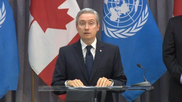 في ندوة صحفية عقدها مساء أمس الأربعاء في نيويورك، قال فرانسوا فيليب شامبان، وزير الخارجية الكندي إنّه فخور بالحملة الكندية وشكر الدبلوماسيين الكنديين على الجهود التي بذلوها خلال السنوات الأربع الماضية - CBC