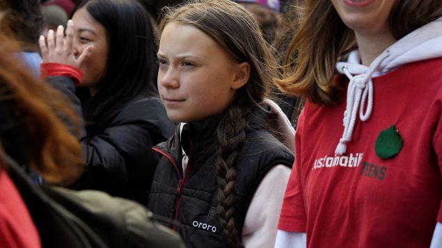 غريتا ثونبرغ في مظاهرة ضدّ التغير المناخي في فانوفر في 25 أكتوبر تشرين الأول 2019 - Reuters / Jennifer Gauthier