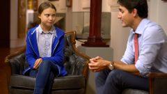 في سبتمبر أيلول 2019، أعربت غريتا ثونبرغ لأول مرة عن استيائها من سياسات كندا المناخية خلال اجتماع وجها لوجه مع رئيس الحكومة الكندية جوستان ترودو - Reuters / Andrej Ivanov