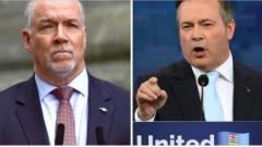 جون هورغان رئيس حكومة بريتيش كولومبيا (إلى اليسار) ور جايسن كيني رئيس حكومة ألبرتا/ CBC/REUTERS