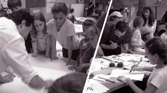 الفنّان التشكيلي محمّد مخفي مع تلاميذه في متحف الفنون الجميلة في مونتريال( أرشيف) © Makhfi-Esprit des formes
