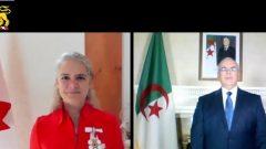 """لعربي الحاج علي، سفير الجزائر الجديد لدى كندا يقدّم أوراق اعتماده """"افتراضيًّا، لجولي باييت، حاكمة كندا العامة - Twitter/GG"""