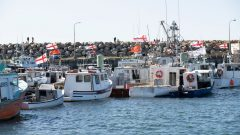 قوارب صيد تابعة لصيّادي أمّة سبيكني كاتيك من السكّان الأصليّين في صونييفيل في نوفا سكوشا في 20-10-2020/Mark O'Neill/CP