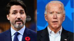 """أوضح جوستان ترودو قبيل الانتخابات الأمريكية أنّ """"كندا ستواجه صعوبات أقلّ إذا ما تعاطت مع إدارة أميركية برئاسة جو بايدن."""" - Sean Kilpatrick / The Canadian Press and Carolyn Kaster / The Associated Press"""