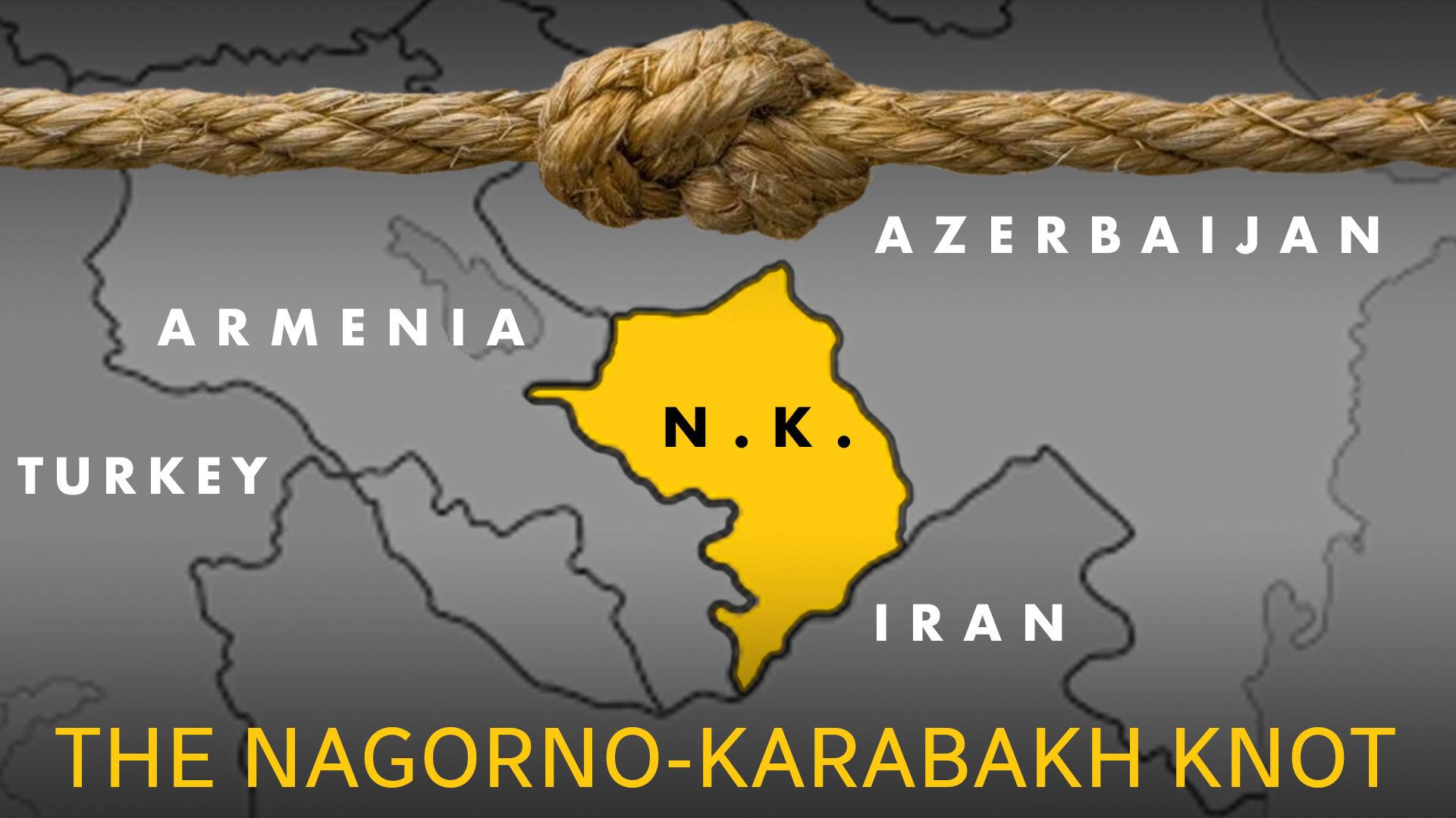 """نص """"THE NAGORNO-KARABAKH KNOT"""" وصورة عقدة على خريطة ن. المنطقة مع أرمينيا وأذربيجان وتركيا وإيران"""