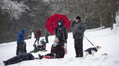 متزحلقون على الثلج وضعوا الكمامة في بورنابي في بريتيش كولومبيا في 24-01-2021/Darryl Dyck/CP