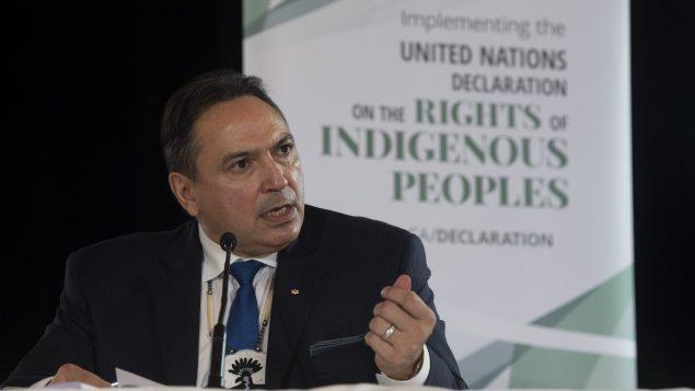 بيري بيلغارد زعيم جمعيّة الأمم الأوائل في كندا اعتبر أنّ قضيّة كولتِن بوشي تتخطّى حدود مقاطعة سَسكتشوان إلى كافّة أنحاء كندا//Adrian Wyld/CP