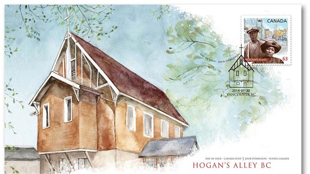 The first day cover for the Hogan's Alley stamp to commemorate February's Black History Month. The church was a centre of the black community in Vancouver, and the stamp features the actual photos of two of the area's original residents, superimposed on an image of the alleyway. Photo Credit: Canada Post