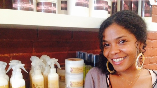 Abisara Machold owns Inhairitance, which specializes in curly hair and promotes natural hairstyles. (Shari Okeke/CBC)