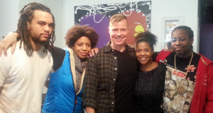 Daybreak's panel on the future of the black community in Montreal. From left to right: Kai Thomas, from the DESTA Black Youth Network; Sylvia Stewart, an actress, filmmaker and member of the National ACTRA Diversity Committee; Daybreak host Mike Finnerty; Inhairitance salon owner Abisara Machold; and Stephen Hennessy from the Westhaven-Elmhurst Community Association in NDG. (Rebecca Ugolini/CBC)