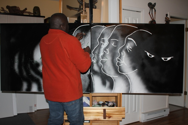 Artist Floyd Sandiford works on one of the paintings that will be included in the installation. (Shahanah Shivji)