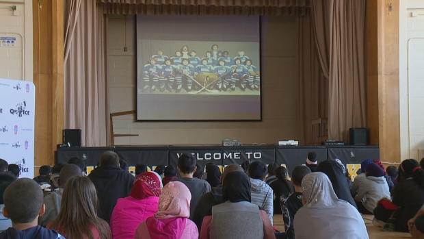 Students at Nelson Mandela Park Public School watch the documentary Soul on Ice: Past, Present and Future at school on Monday in honour Black History Month. (CBC)
