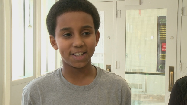 Yassir Ahmed, grade 8 student at Nelson Mandela Park Public School, says the film Soul On Ice: Past, Present and Future gives him hope that he could make it to the NHL one day. (CBC)