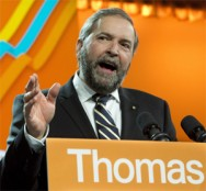 NDP leader Thomas Mulcair at policy convention in Montreal. (Photo: Paul Chiasson/CP)