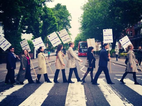 Striking Canadian diplomats on Abbey Road (Photo: PAFSO)