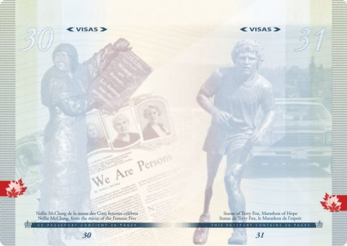 Nellie McClung who fought for women's rights, and Terry Fox who ran marathon to raise awareness on cancer research. (Photo: Passport Canada)
