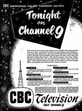 CBC first broadcast ad 52-09-08