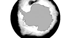 Sea ice (white) surrounds Antarctica in this image based on satellite data from 1974-1976. The dark area in the upper part of the image shows the extent of the Weddell Sea polynya-the siaze of New Zealand- during the polar winters of those years. Climate change appears to have cut off the flow of this enormous deep ocean current and mixing of upper and deep ocean layers (Casimir de Lavergne; NSIDC)
