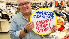Wayne Reuben has been keeping alive the dying art of hand-painted signs, working at Honest Ed's for many years and dreaming up the wacky slogans and creating the sale signs. (CBC) CLICK TO ENLARGE