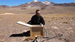2011; Geophysicist Martyn Unsworth with Urunucu volcano in the background  (CLICK to ENLARGE