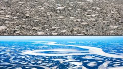 The upper image is an aerial view of an ice jam in Middle Channel in the central Mackenzie River Delta during the annual ice-breakup period.  The lower image shows the intact ice sheet in Middle Channel one day prior to the initiation of breakup and dynamic ice jamming that filled the channel with large-scale ice rubble, as shown in the upper image.  The lower image is also a wider scale view of Middle Channel that shows the off-channel lake-richness of this ecosystem.  The Mackenzie Delta covers an area ~13,000 km2, contains 45,000 lakes, and warmer springs combined with reduced winter snowfall may be changing the ice breakup regime that drives peak annual water-levels and thereby sustains these lakes (both images are south-looking and were taken in late May 2008 during International Polar Year investigations  (L Lesack) CLICK to ENLARGE
