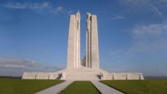 The magnificent Vimy memorial built on Hill 145 of the Ridge and dedicated to all Canadians who fell in the First War (Veterans Affairs Canada) CLICK to ENLARGE