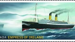 The new $2.50 stamp issued by Canada Post for international letters, showing the Storstad's bow emerging from the fog