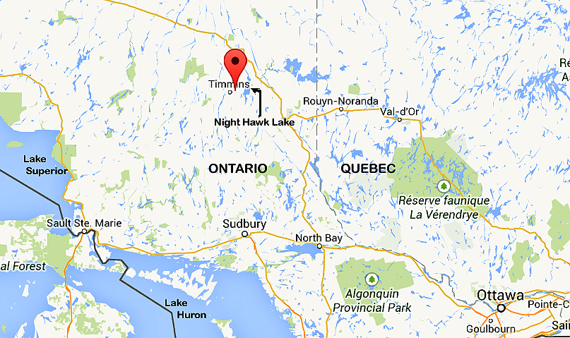 red dot indicates south porcupine and porcupine lake about 48 km west of present