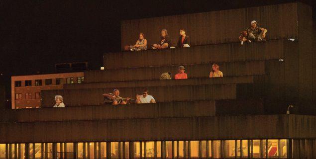 """Krzysztof Wodiczko's 'Homeless Projection: Place des Arts, 2014"""" (Photo: Courtesy artist/Biennale de Montréal)"""