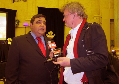 """During the years I hosted and produced 'Masala Canada' I attended a lot of  events in the South Asian community,"" says Wojtek Gwiazda. ""This is a photo of me interviewing Deepak Obhrai, the Parliamentary Secretary to the Foreign Affairs Minister at a Diwali celebration in Ottawa in 2010."""