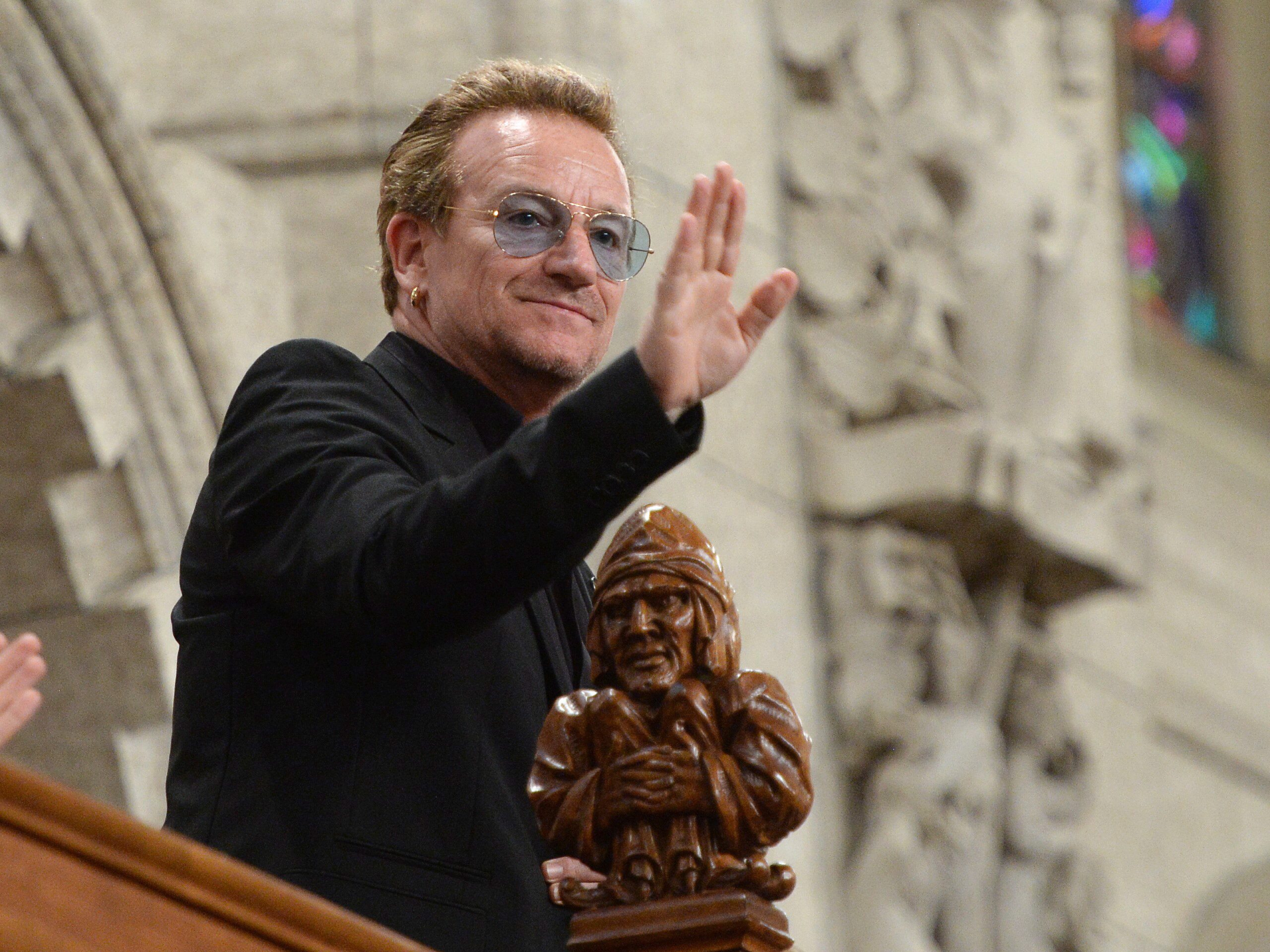 Bono attending question period in Ottawa on Monday.  (Canadian Press)
