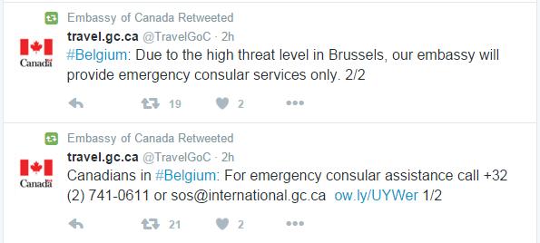 Brussels embassy tweets
