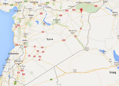 A Canadian man has been killed in north-eastern Syria near the city of Hasakah, marked by the red pin