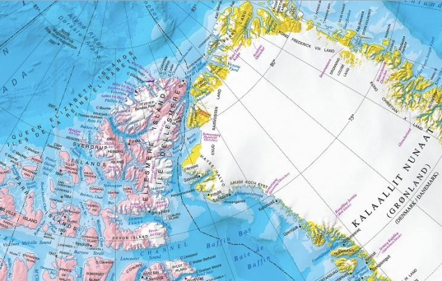 Maritime boundary between Canada and Greenland. Courtesy of Prof Michael Byers