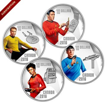 Collection of $10 silver coins celebrating the 50th anniversary of Star Trek. The Royal Canadian Mint