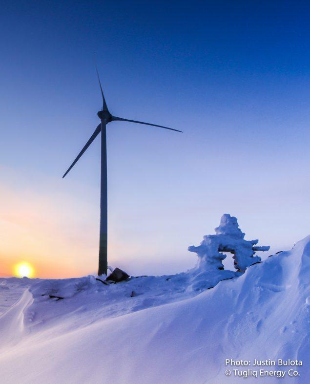 The wind turbine at Raglan mine in northern Quebec. (Justin Bulota / Tugliq Energy Co.)