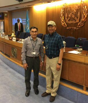 Tagak Curley of Rankin Inlet, Nunavut, and Hans Lennie of Inuvik, N.W.T. at the IMO meeting in London in October 2016. (Photo: Andrew Dumbrille)