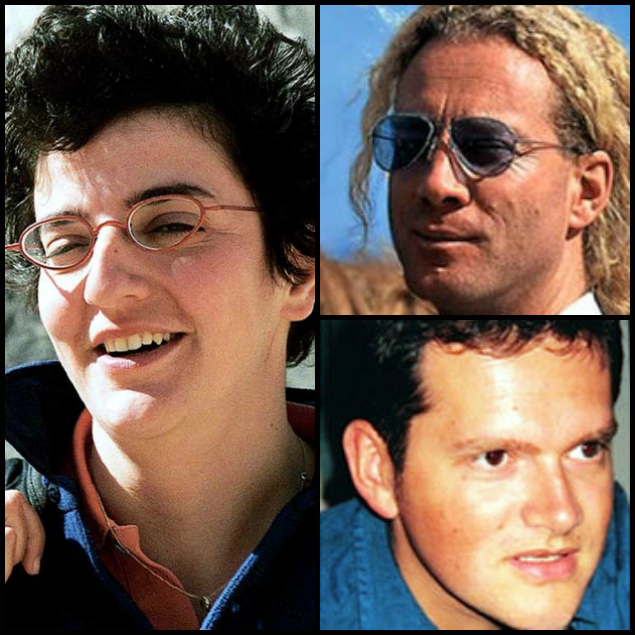 Johanne Sutton (left), Volker Handloik (top right) and Pierre Billaud (bottom right) were killed in a Taliban ambush in northeastern Afghanistan on Nov. 11, 2001.