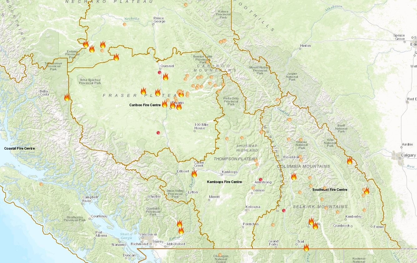 Plateau fire new name for combined Cariboo fires
