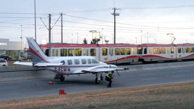 Plane with engine trouble lands on Calgary street  Plane with engi...