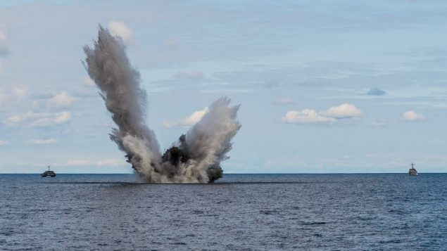 Canadian navy is involved in an exercise to destroy old shipping mines in the Baltic still left from the two world wars